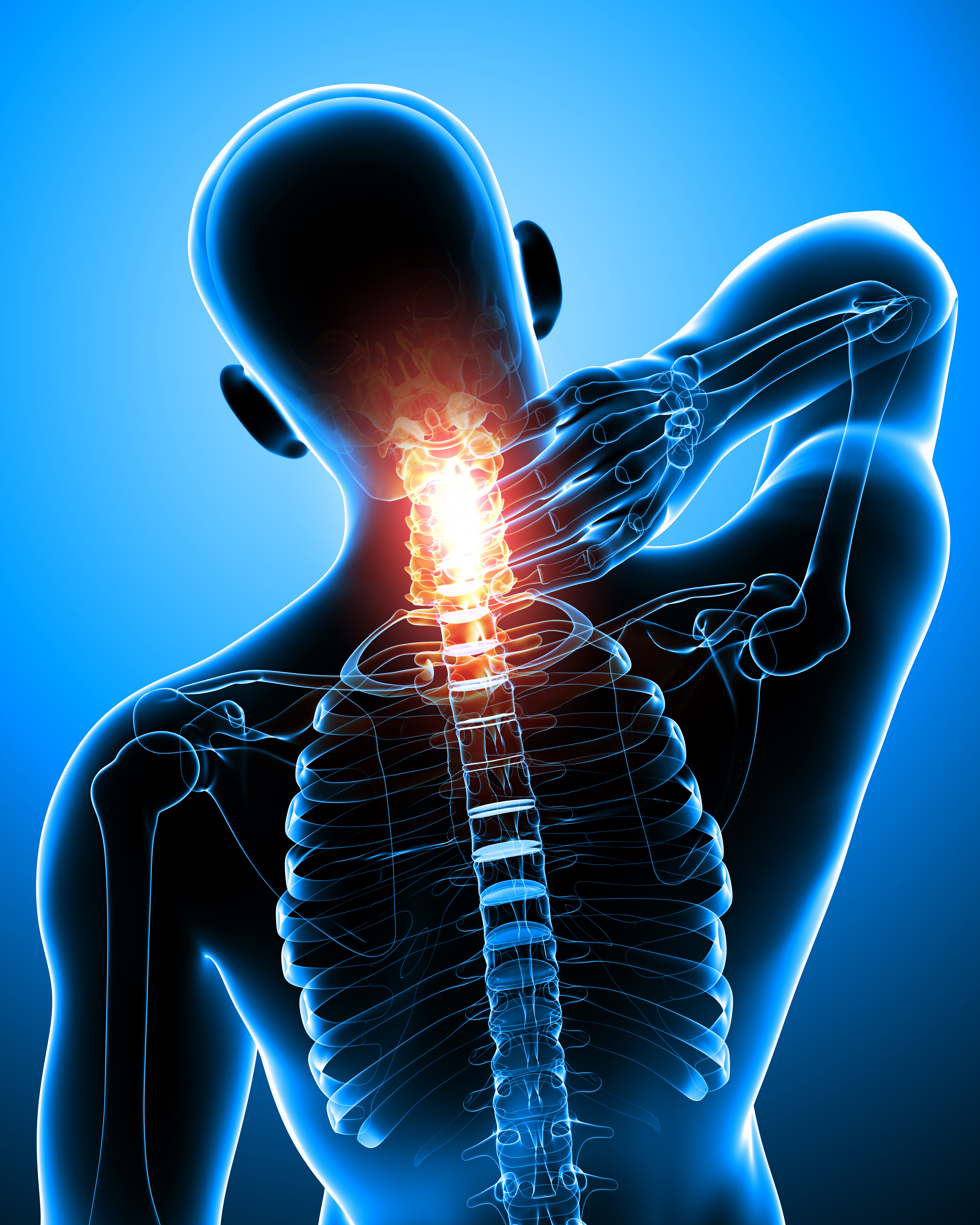 male neck pain anatomy in blue